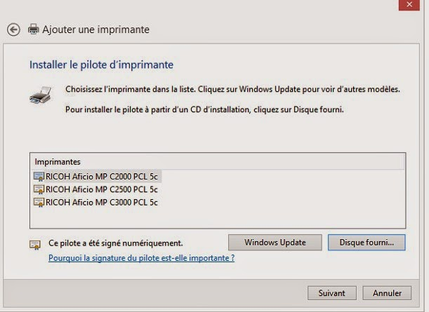 installer une imprimante reseau windows 8.1 richo nasuatech photocopieur c2000 mpc afficio