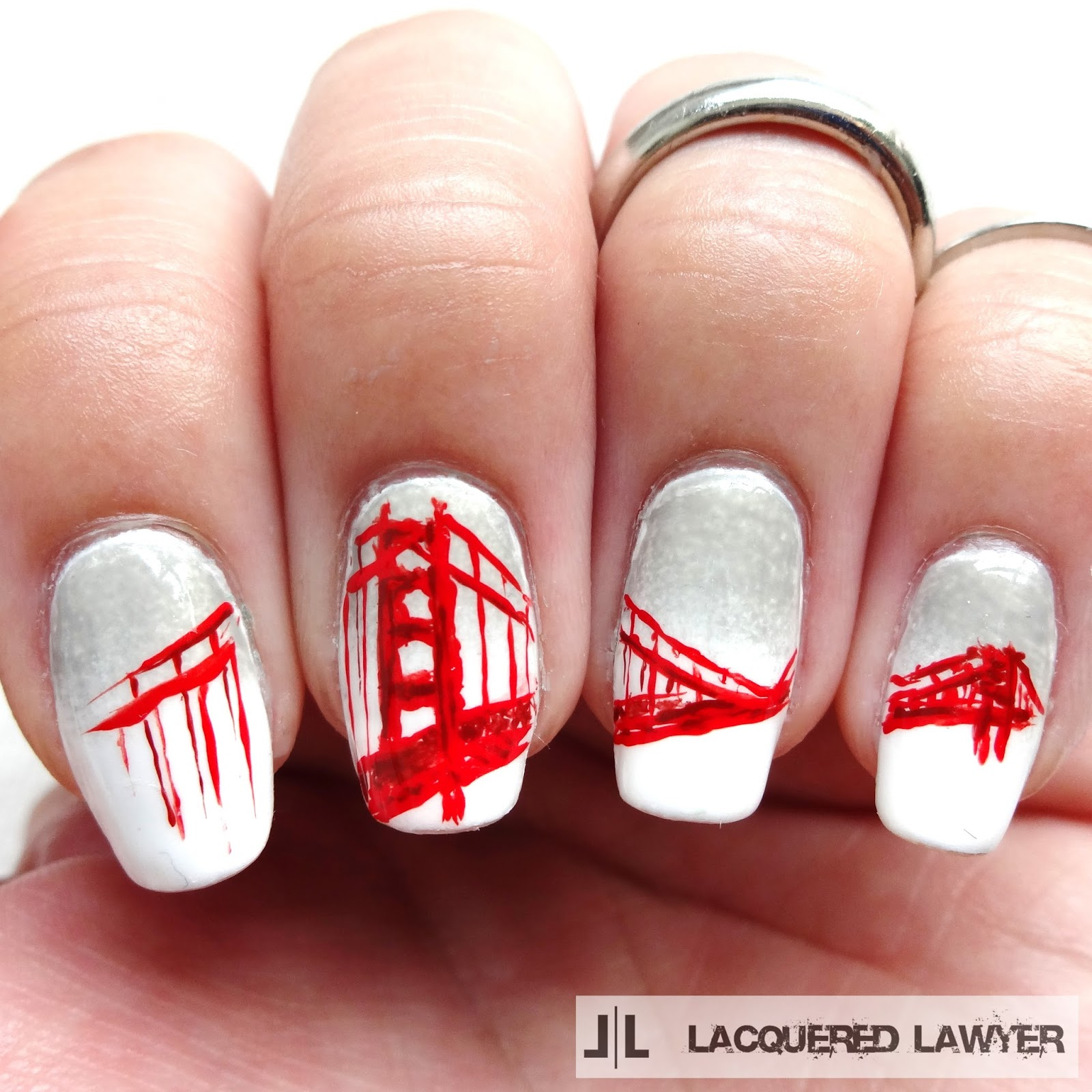 Lacquered Lawyer | Nail Art Blog: Golden Gate Bridge