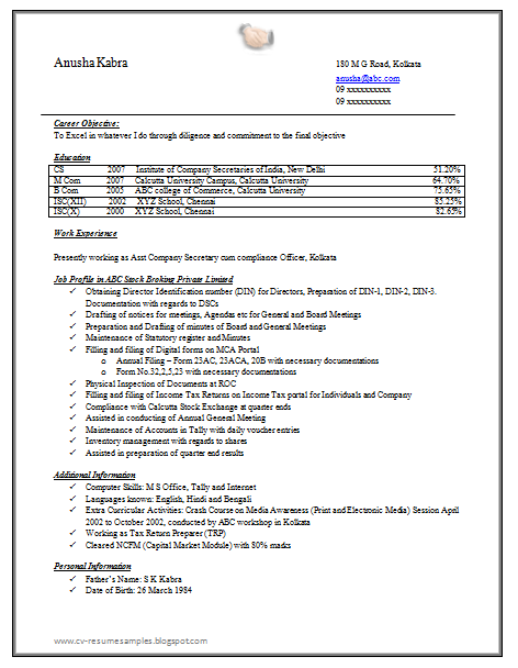 Superbe Free Download Company Secretary Resume Sample Doc