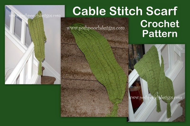 ... Designs Dog Clothes: Green Meadows Cable Stitch Scarf Crochet Pattern