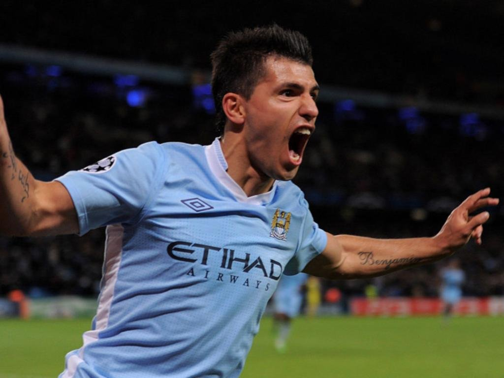 Sergio Aguero Expression After Scoring In A Match