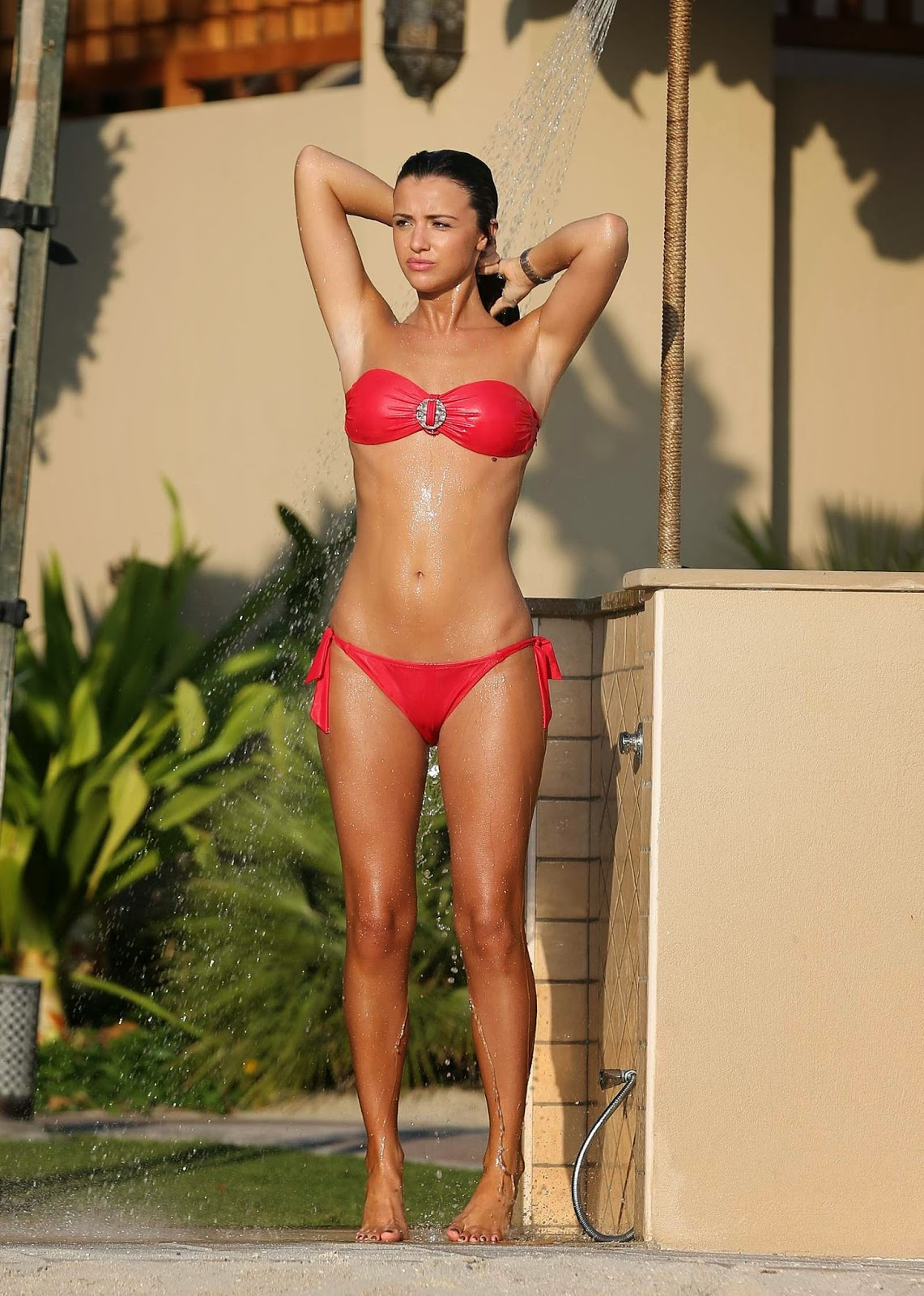 Lucy Mecklenburgh Topless But Covered Bikini Candids In Dubai