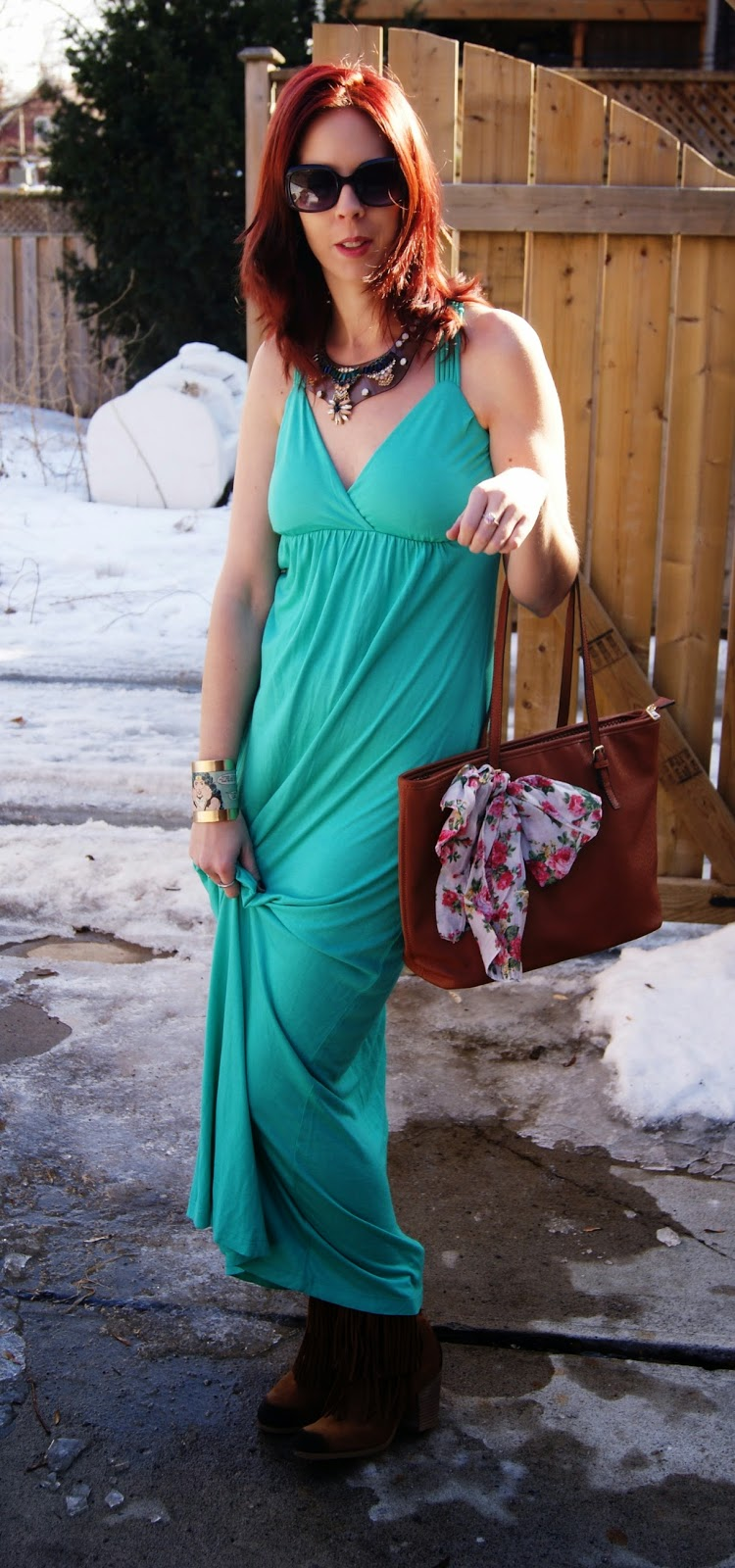 Spring Statement: Dress and Denim and Supply Boots from Marshalls, Forever 21 Kimono, Shop For Jayu Necklace, Mizdragonfly Bracelet fashion Style Blogger Melanie.Ps The Purple Scarf Toronto