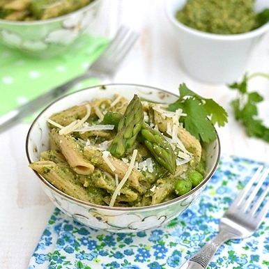 Penne with Asparagus & Pistachio Pesto