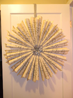 rolled sheet music wreath