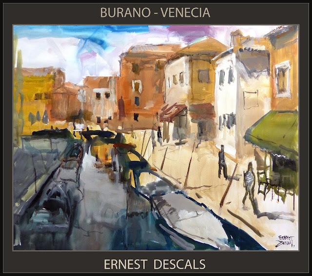 BURANO-VENECIA-PINTURA-CANALES-PAISAJES-CUADROS-PINTURAS-GOUACHE-PINTOR-ERNEST DESCALS-