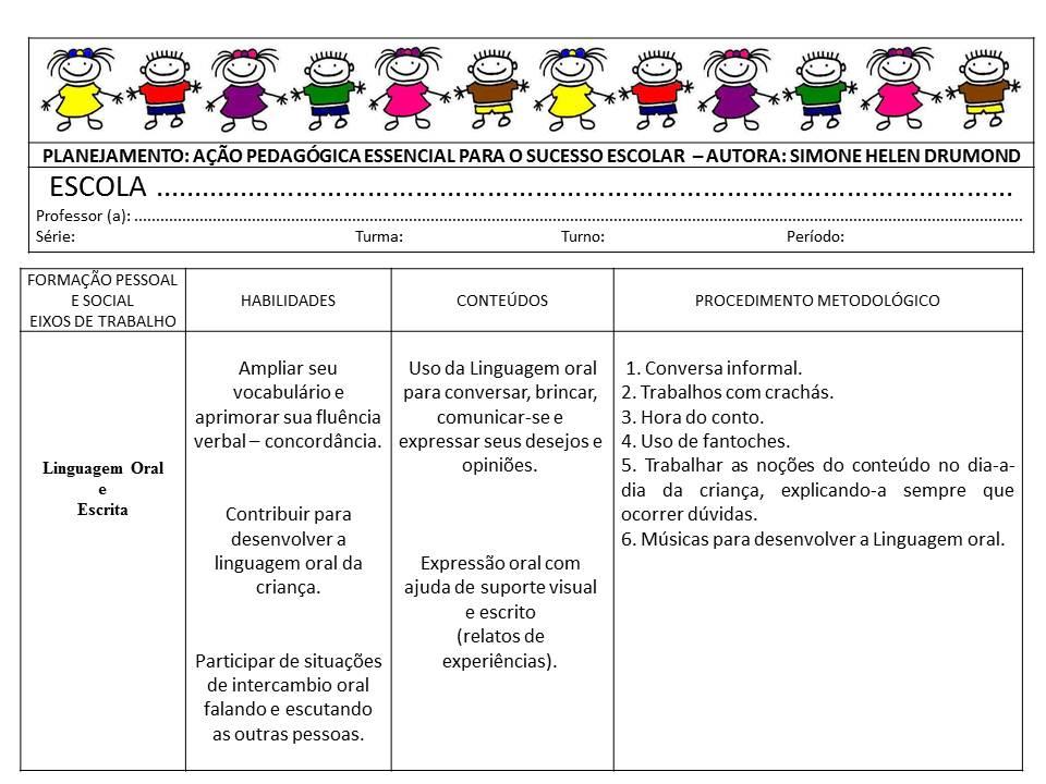 Amado Meus Trabalhos Pedagógicos ®: Planejamento Linguagem oral e escrita YB66