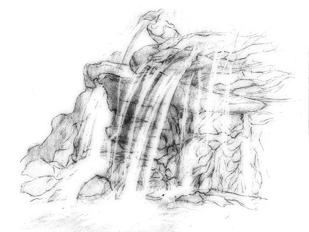 Magellin . Blog: Waterfall drawing - Part One Drawing