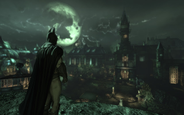 Batman at Arkham East, looking out at Arkham Mansion