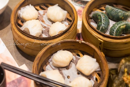 Steamed Prawn Dumpling and Steamed Garlic, Mushroom, Spinach Dumpling from Tim Ho Wan