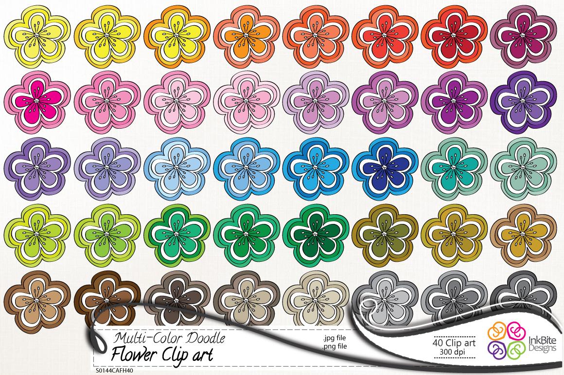 Inkbite designs multi color doodle flower clip art set multi color doodle flower clip art set voltagebd Image collections