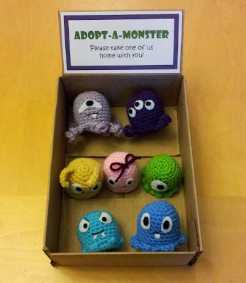 Adopt-a-monster crochet monster plushies for party favors