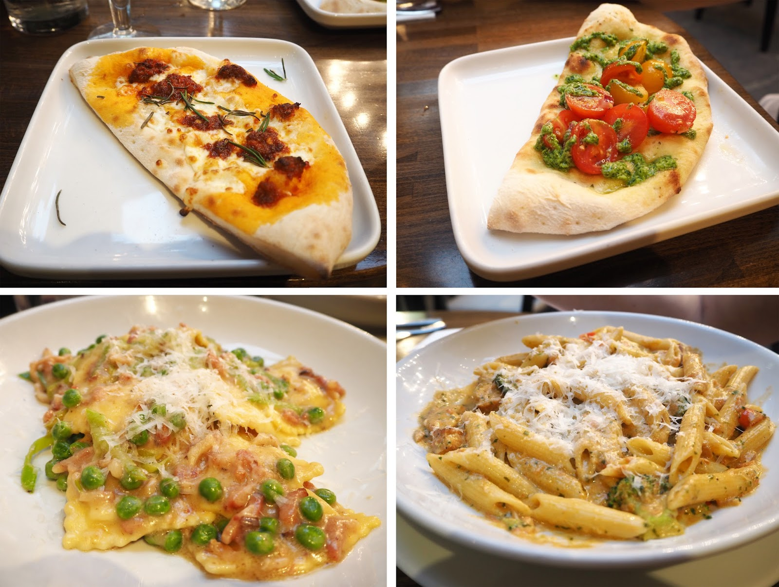 Prezzo Italian: N'duja Pizzette, Bruschetta, Chicken Ravioli, Penne Con Salmone