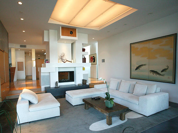 The Modern Fireplace Through The Front Door
