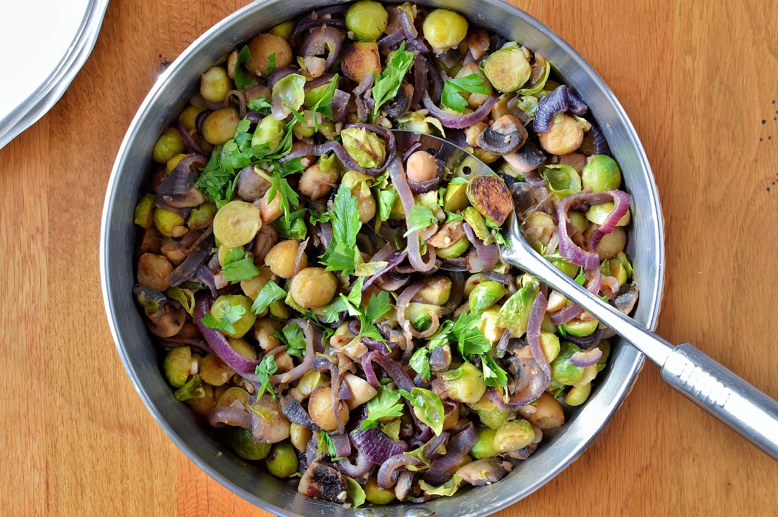 Brussels Sprouts with Chestnuts, Red Onion and Mushrooms GF SCD ...
