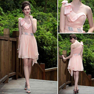 Light Pink One Shoulder Short/Mini Dress