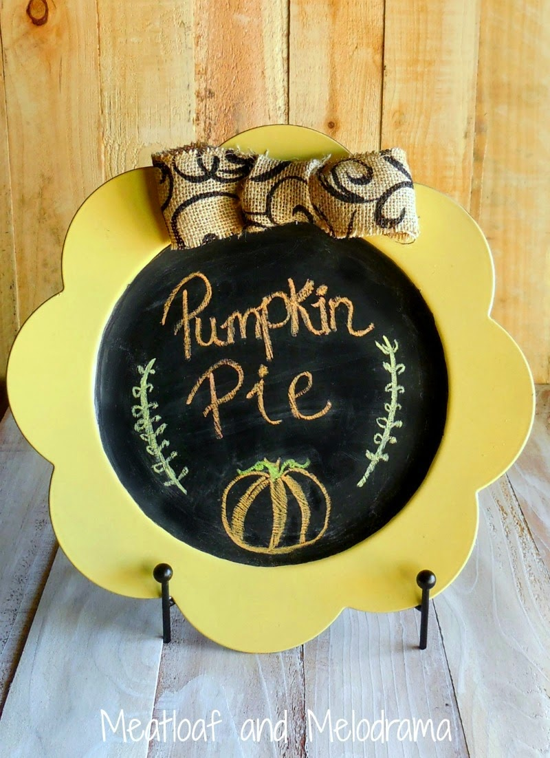 yellow and black chalkboard plate with burlap bow