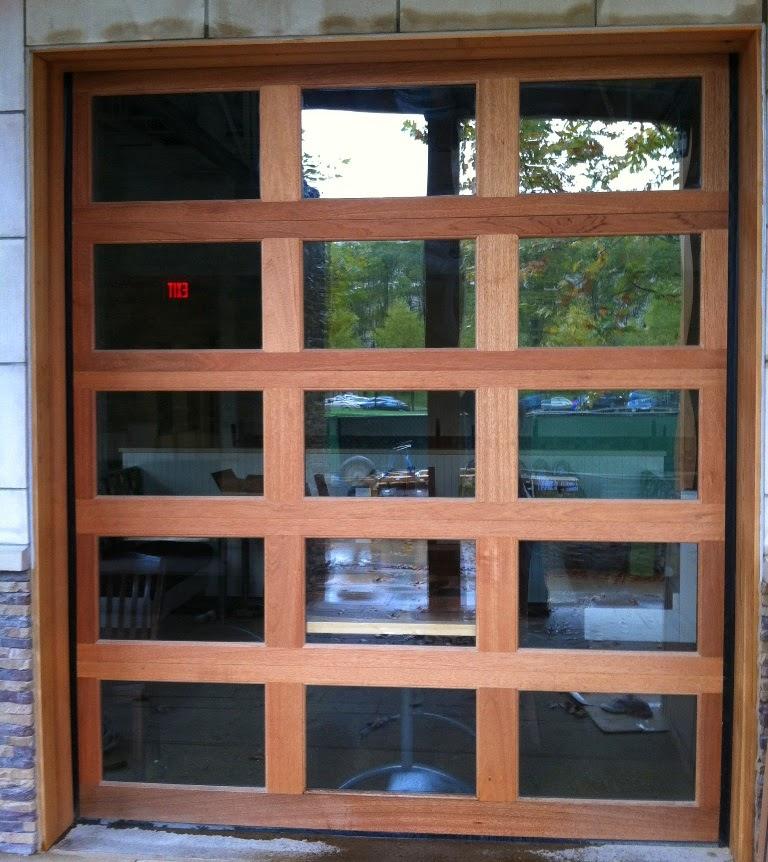 wood frame glass garage door