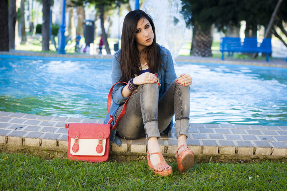satchel bag coral fluor
