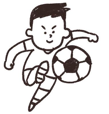 シュートをしているサッカー選手のイラスト モノクロ線画