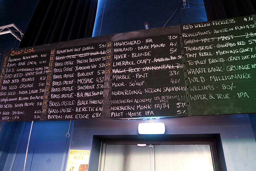 Beer selection Beertown Malton March 2015 at Milton Rooms