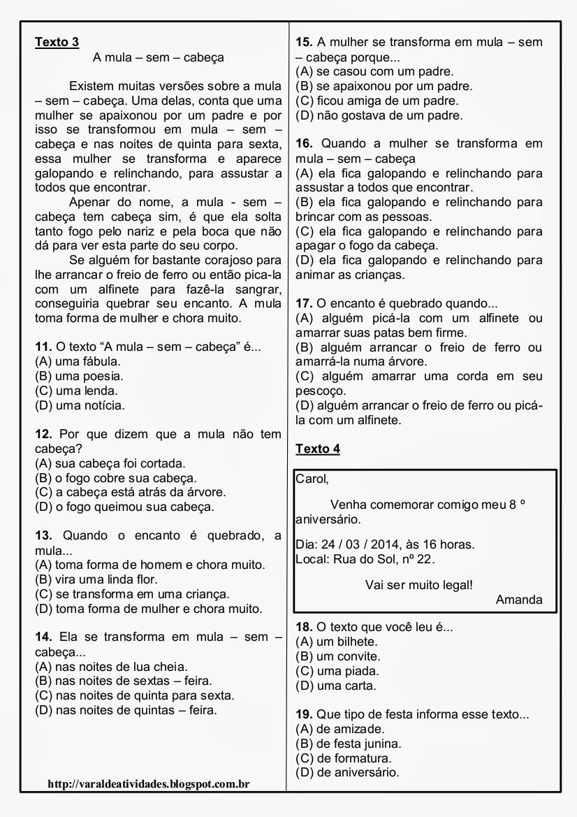 Suficiente VARAL DE ATIVIDADES: Avaliação de Português - 5 textos 30 QUESTÕES  LX98