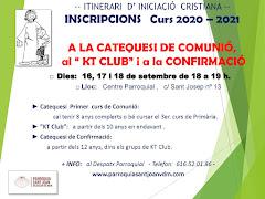 OBERTES LES INSCRIPCIONS DE CATEQUESI DE COMUNIÓ KTCLUB I CONFIRMACIÓ