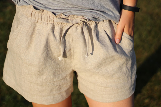 Image of paper bag waisted shorts I sewed, detail of stitching and draw strings