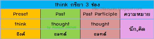 think กริยา 3 ช่อง