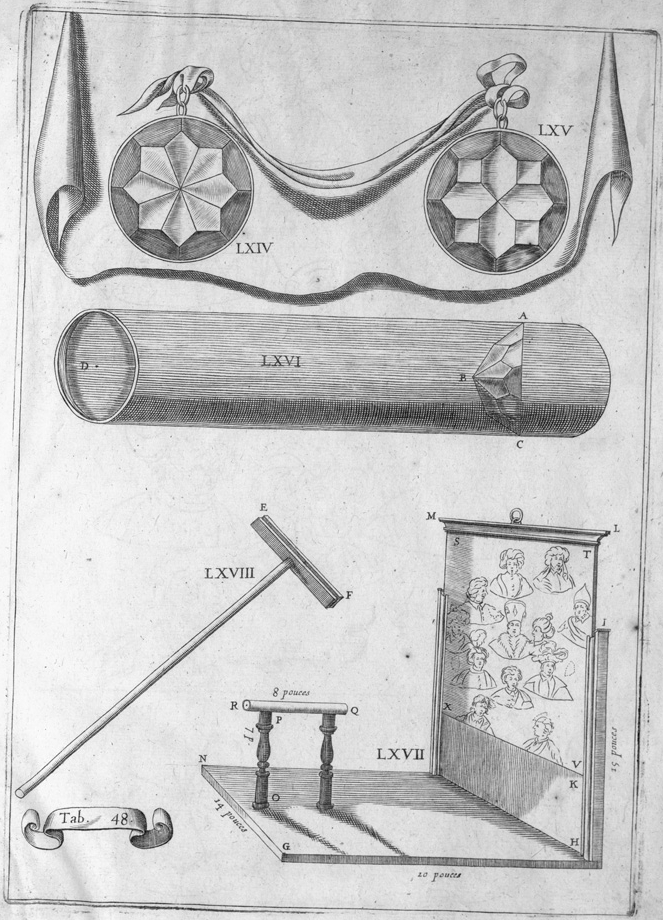 diagram from art perspective book : various engraved paintings and art tools