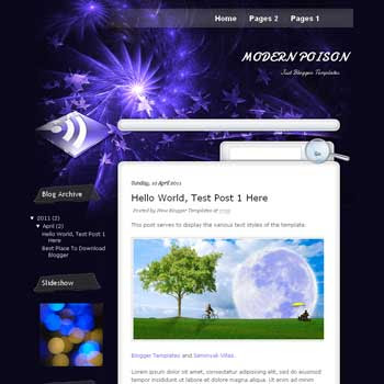 Modern Poison Blogger Template. blogger template from wordpress theme