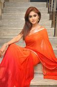 Sony Charista Glamorous in Saffron saree-thumbnail-11