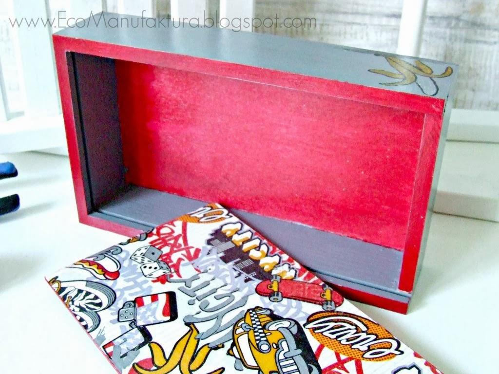 inspiracja na decoupage dla faceta - pudełko decoupage dla chłopaka Eco Manufaktura