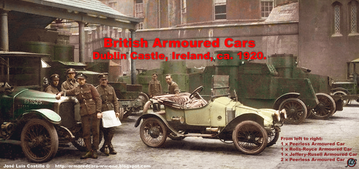 British armoured cars in dublin castle ireland circa 1920