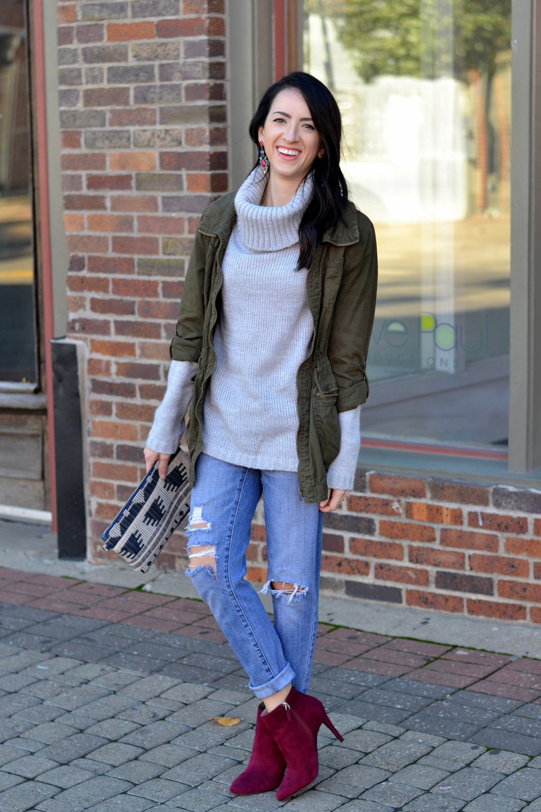 Fall Sweater_Olive Jacket_Fall Layers_Booties