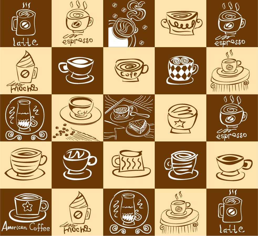 手書きの珈琲カップの背景 lovely coffee theme vector イラスト素材