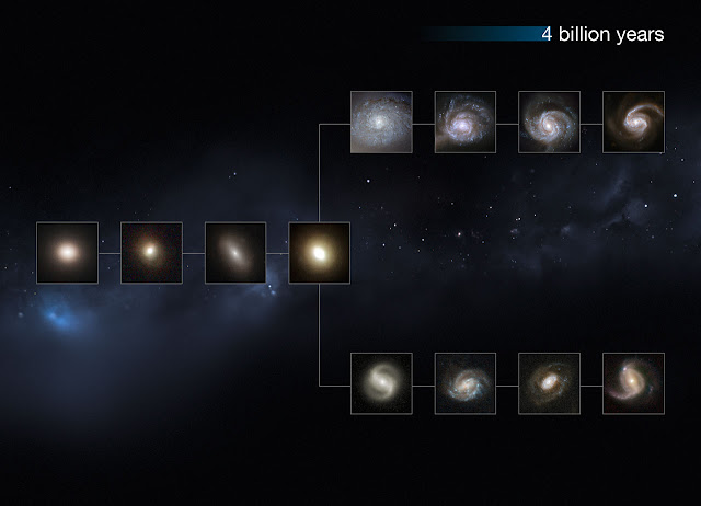 "This image shows a ""slice"" of the Universe some 4 billion years back in time. The shape is that of the Hubble tuning fork diagram, which describes and separates galaxies according to their morphology into spiral (S), elliptical (E), and lenticular (S0) galaxies. On the left of this diagram are the ellipticals, with lenticulars in the middle, and the spirals branching out on the right side. The spirals on the bottom branch have bars cutting through their centres. The galaxies at these distances from us are small and still not fully-formed, but have some defined colour and structure.  This image is illustrative; the Hubble images used were selected based on their appearance. The individual distances to these galaxies are only approximate.  Credit:  NASA, ESA, M. Kornmesser"