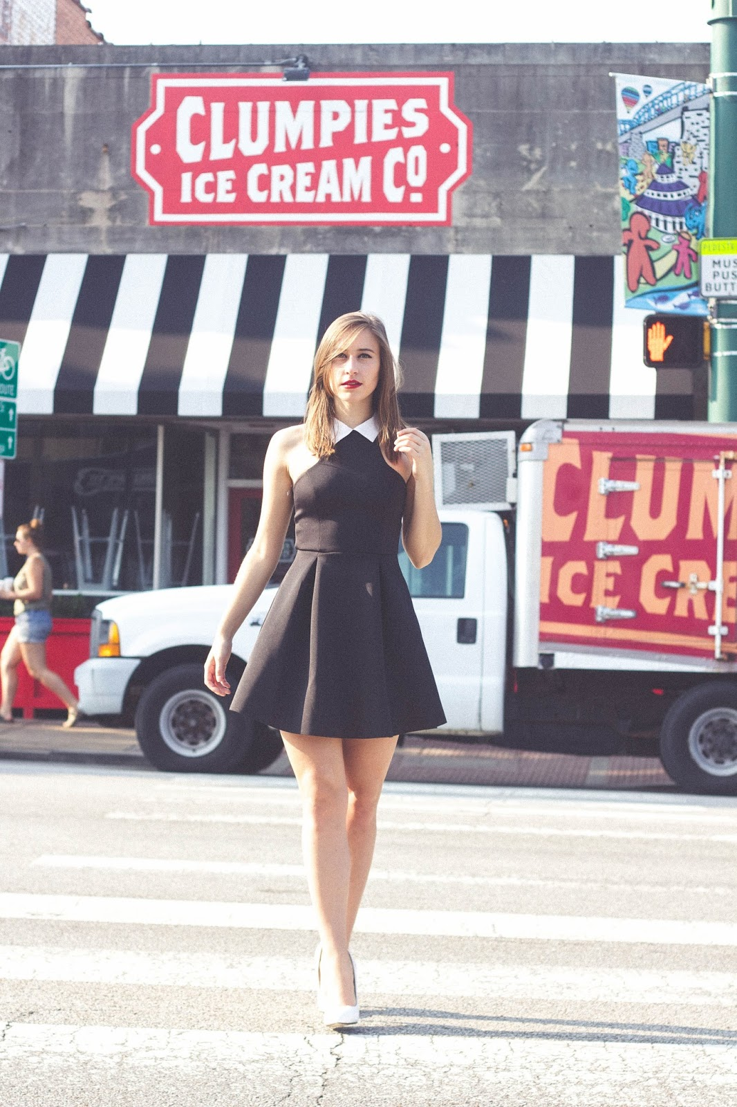 vintage, style, retro, taylor swift style, 60's style, modern, mod, clumpies ice cream, ice cream shop, fashion shoot, fashion photography, film, photography, chattanooga, unique vintage, style blogger, black skater dress, white pumps, red lips, classic  look,