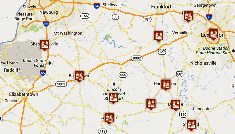 Kentucky distillery map for Ky bourbon trail craft tour map