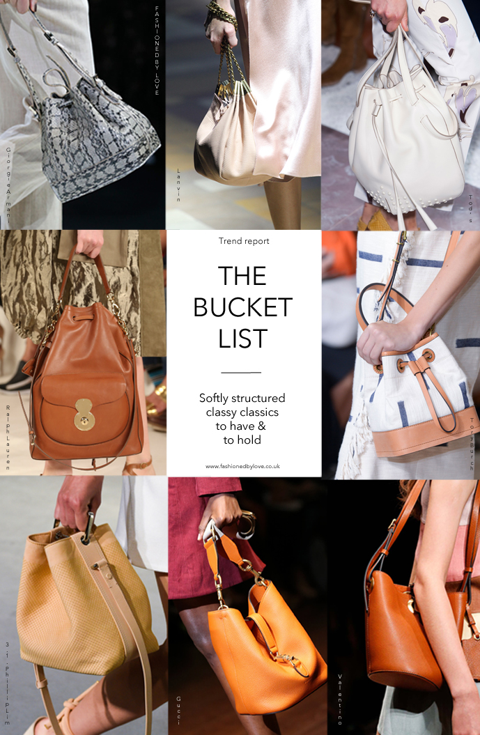 style report / fashioned by love / bucket bags at Giorgio Armani, Lanvin, Tod's, Ralph Lauren, Tory Burch, 3.1 Phillip Lim, Gucci & Valentino Spring/Summer 2015 catwalks