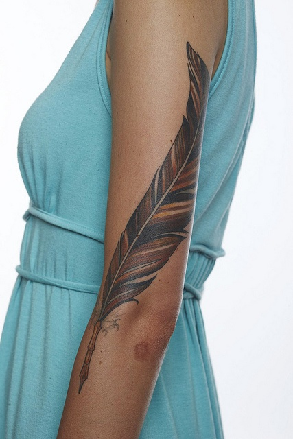 nice feather on full arm female tattoo female tattoos gallery. Black Bedroom Furniture Sets. Home Design Ideas