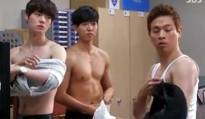 Tae Il, Dae Goo and Ji Gook are walked in on while they're changing their shirts.
