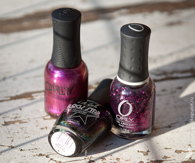 Orly Beautiful Disaster + Orly Ridiculously Regal + LA Girl Rockstar