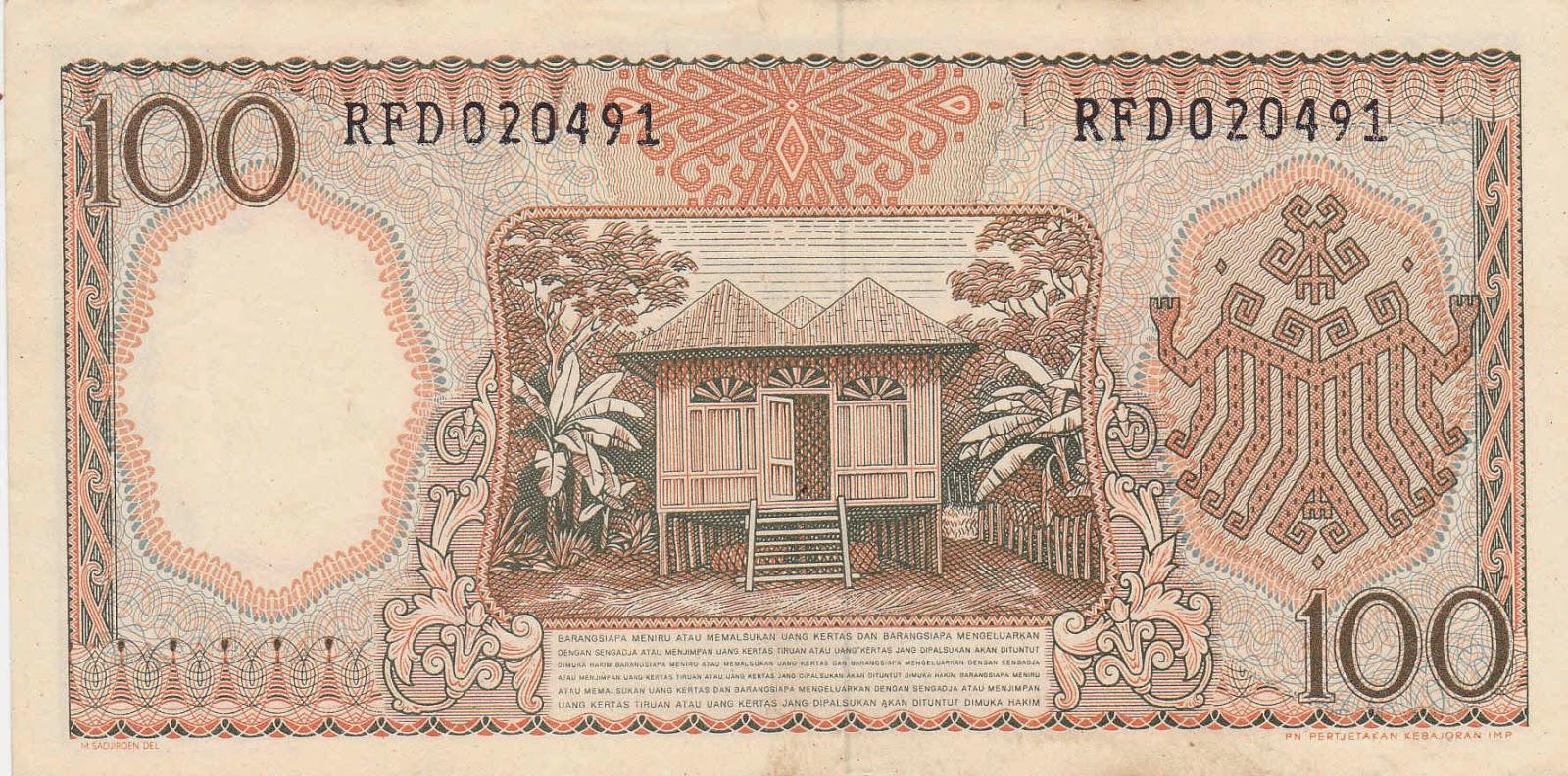 uang kuno Seri pekerja tangan tahun 1964 pecahan 100 rupiah ( Merah )