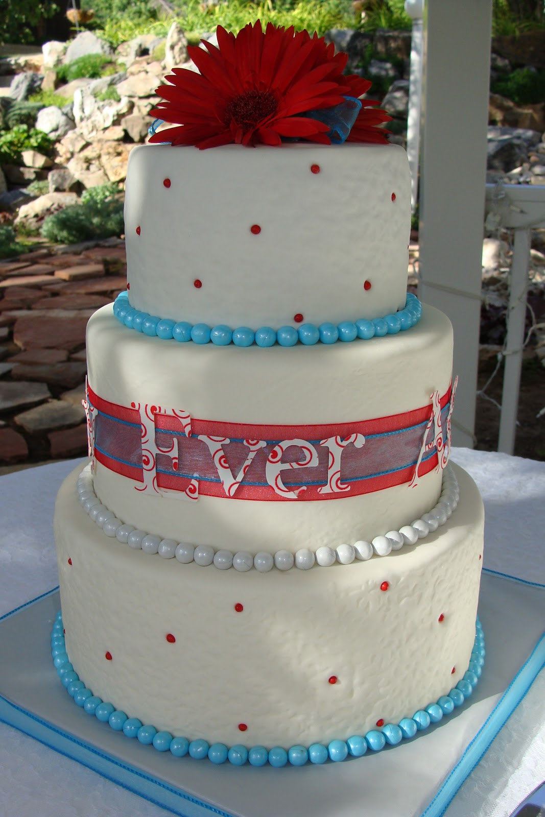 Amber s Cakes Blue and Red Happily Ever After Wedding Cake