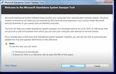 Microsoft Standalone System Sweeper Tool, alat pemulihan untuk PC Windows terinfeksi