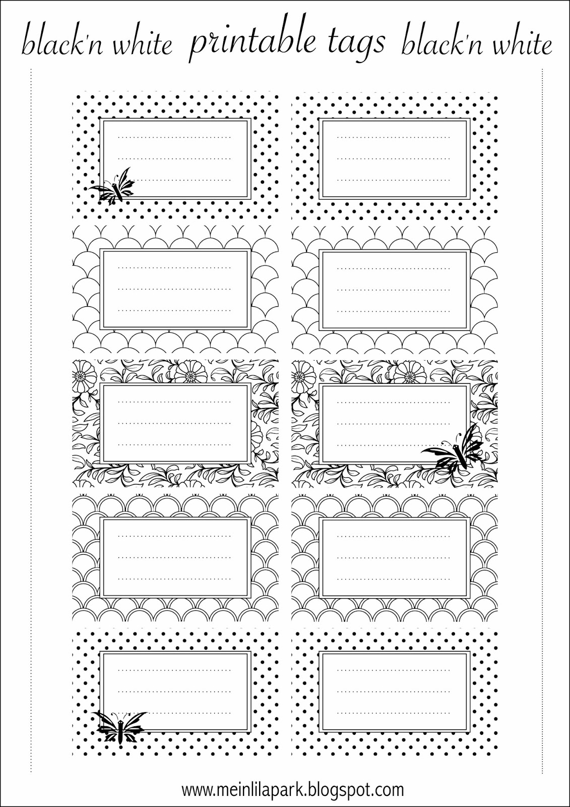 Free printable tags black and white ausdruckbare for How to print your own labels at home