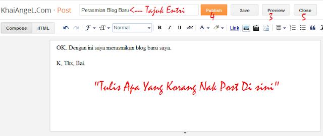 menulis post baru dalam blogger