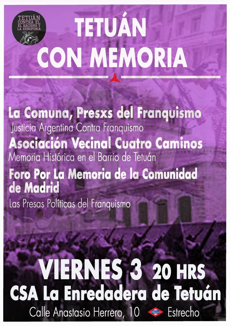 3 marzo Tetuán: Recuperando la Memoria del Barrio