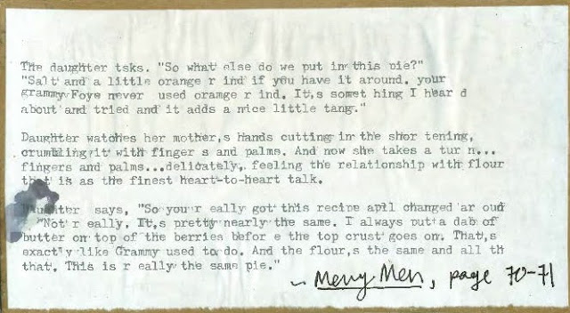 Typed Quote from Carolyn Chute's Merry Men